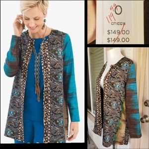New $149 CHICO'S open front crinkle jacket 0 SMALL